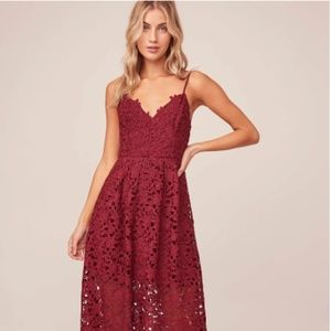 Astr the Label A Line Lace Midi Dress Wine